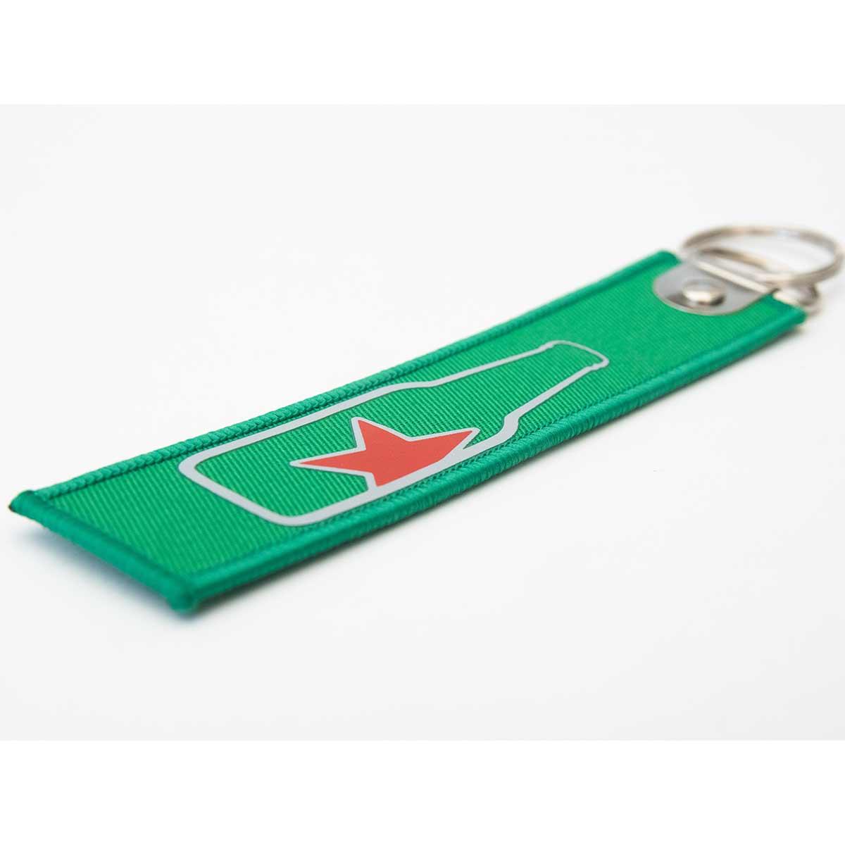 Schlüsselanhängerband mit Reliefdruck auf Stoff
