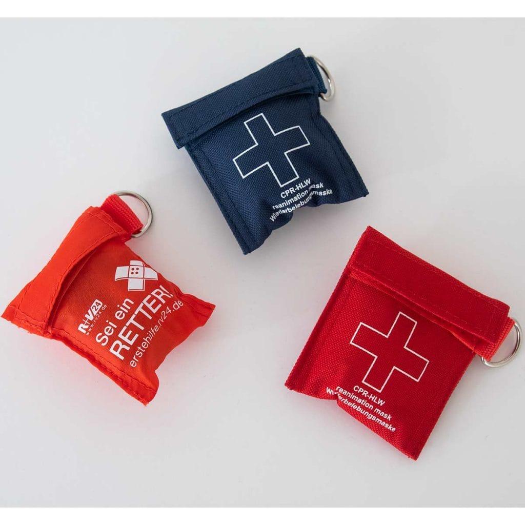 Rettungsmaske/ Beatmungsmaske/ CPR Maske/ Einwegmaske verpackt in Etui, zusammen mit 2 mitgelieferten Handschuhen.