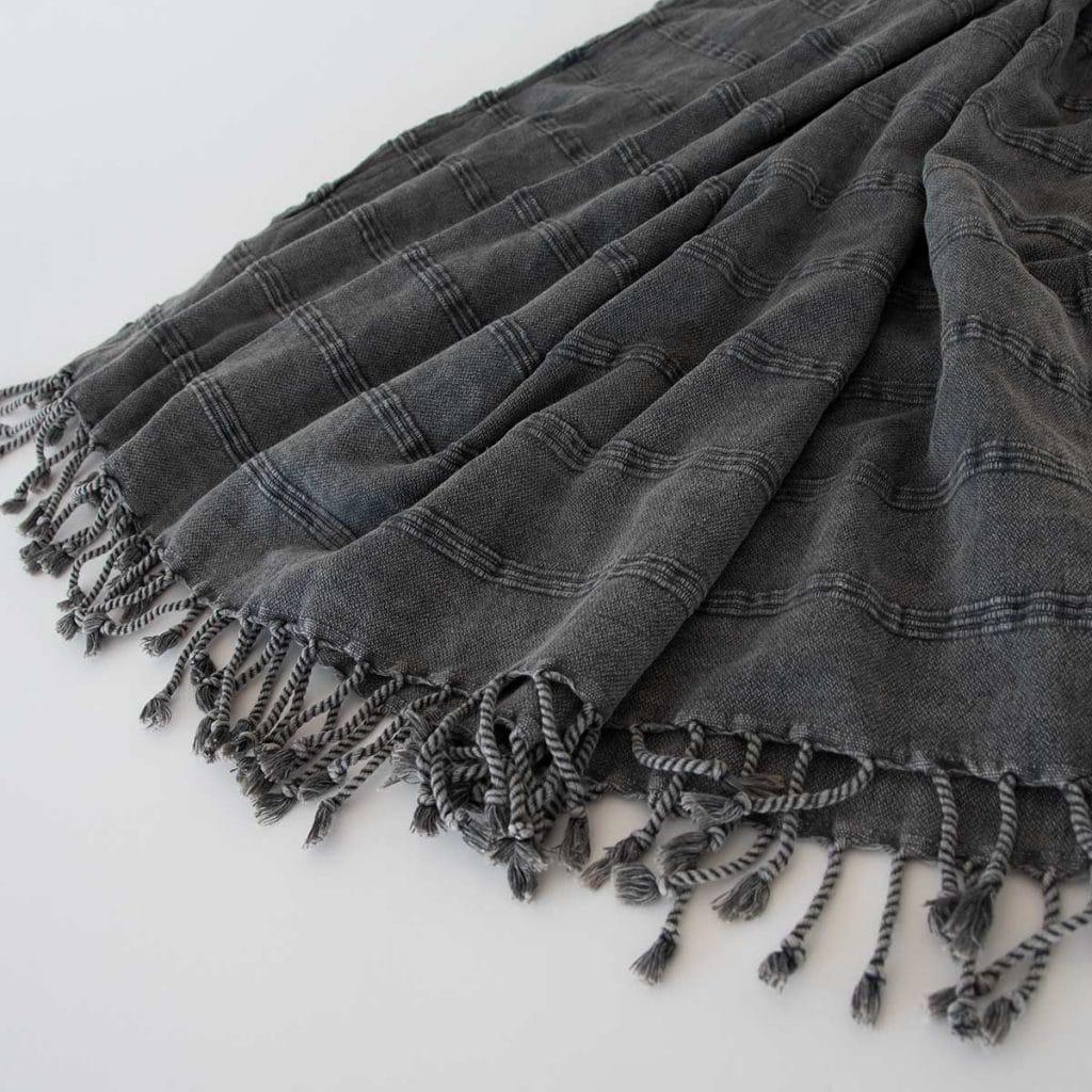 Juerg_Siegrist_AG_Hammam Tuch / Decke aus 100% Baumwolle in Jeansdesign mit Streifenoptik