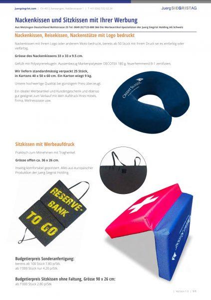Nacken- und Sitzkissen mit Ihrer Werbung
