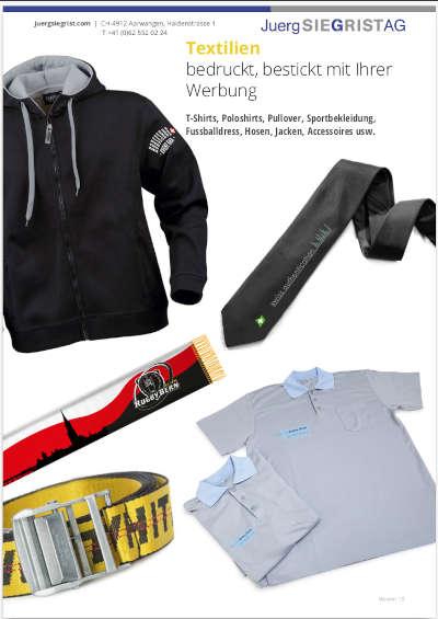 Juerg Siegrist AG Eigene Katalog Textilien bedruckt bestickt