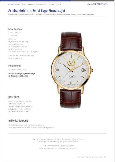 Juerg Siegrist AG Eigene Katalog Le Temps Uhren für Ihre Werbung
